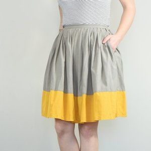 Tulle Pleated Color Block Midi Skirt Sz M